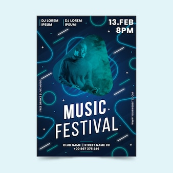 Szablon plakatu wydarzenia muzycznego 2021 ze zdjęciem