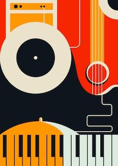 Szablon plakatu z abstrakcyjnymi instrumentami muzycznymi. grafika koncepcyjna jazzu.