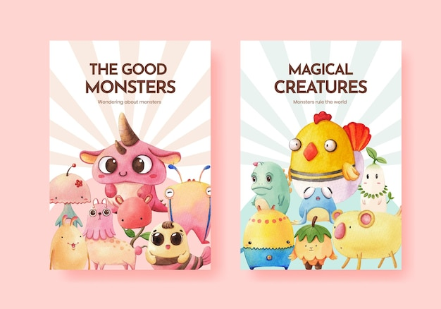 Szablon plakatu z akwarela koncepcja potwora