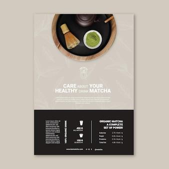 Szablon plakatu z herbatą matcha w proszku