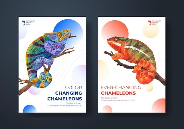 Szablon plakatu z jaszczurką kameleon w stylu akwareli