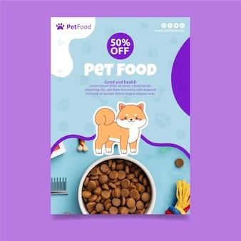 Szablon plakatu z jedzeniem dla zwierząt