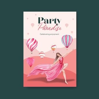 Szablon plakatu z koncepcją balonu fiesty do reklamy i broszury ilustracji akwarela