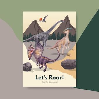 Szablon plakatu z koncepcją dinozaura, styl przypominający akwarele