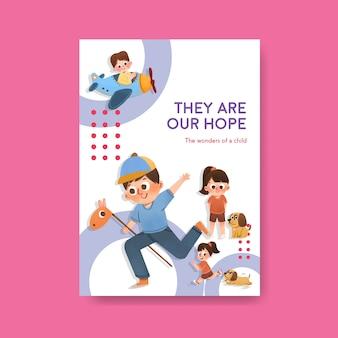 Szablon plakatu z koncepcją dnia dziecka