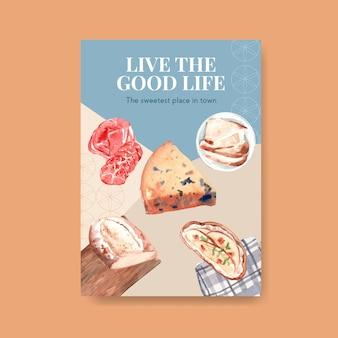 Szablon plakatu z koncepcją europejskiego pikniku do reklamowania ilustracji akwareli.