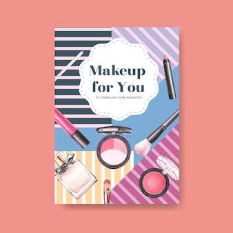Szablon plakatu z koncepcją makijażu dla broszury i ulotki akwarela.