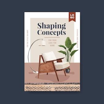 Szablon plakatu z koncepcją mebli jassa do broszury i reklam ilustracji wektorowych akwarela