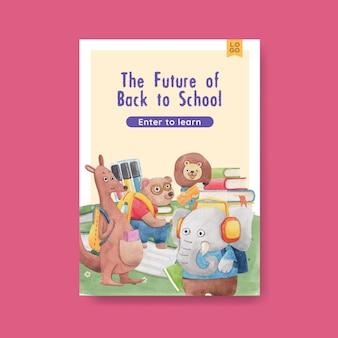 Szablon plakatu z koncepcją powrotu do szkoły i uroczych zwierzątek, styl akwareli