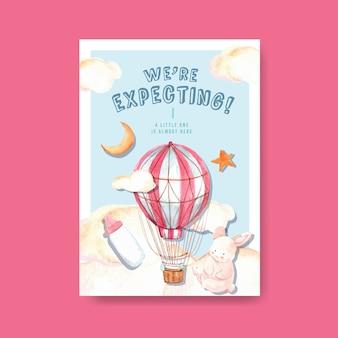 Szablon plakatu z koncepcją projektu baby shower do reklamy i marketingu ilustracji wektorowych akwarela.
