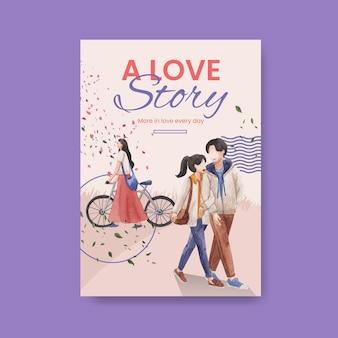 Szablon plakatu z koncepcją rajskiej miłości do reklamy i marketingu ilustracji akwareli