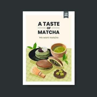 Szablon plakatu z koncepcją słodyczy matcha, styl przypominający akwarele
