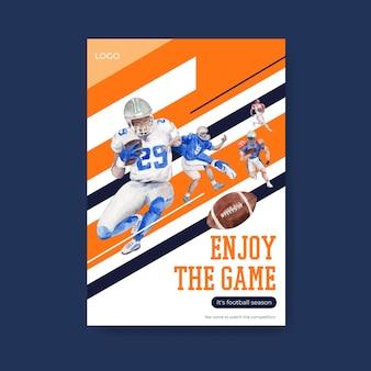Szablon plakatu z koncepcją sportową super bowl dla broszury i reklamowania ilustracji wektorowych akwarela.