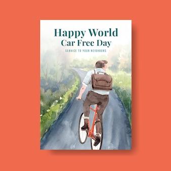 Szablon plakatu z koncepcją światowego dnia bez samochodu