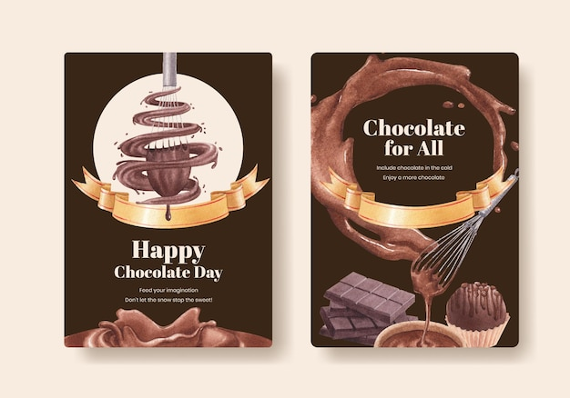 Szablon plakatu z koncepcją światowego dnia czekolady