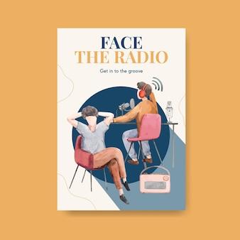 Szablon plakatu z koncepcją światowego dnia radia do reklamy i biznesowej ilustracji akwarela