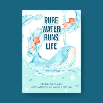 Szablon plakatu z koncepcją światowego dnia wody do reklamy i marketingu ilustracji akwareli