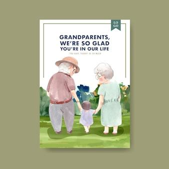 Szablon plakatu z krajowym projektem koncepcyjnym dnia dziadków na reklamę i broszurę akwarela.