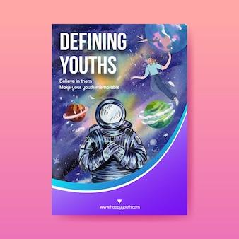 Szablon plakatu z międzynarodowym dniem młodzieży w stylu akwareli