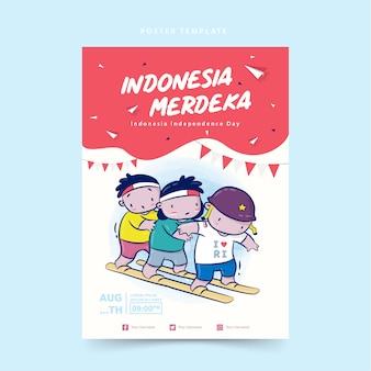 Szablon plakatu z okazji dnia niepodległości indonezji z ilustracją kreskówki wyścigu chodaków, merdeka oznacza niezależność