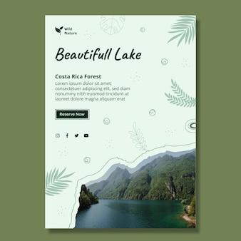 Szablon plakatu z pięknym jeziorem