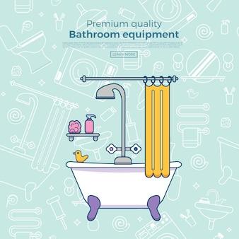 Szablon plakatu z płaskim lustrem, toaletą, umywalką, prysznicem.