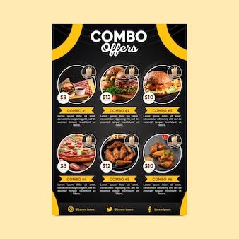 Szablon plakatu z posiłkami combo