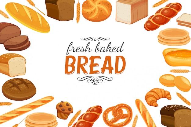 Szablon plakatu z produktami chlebowymi.