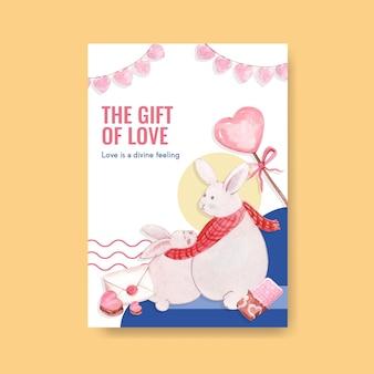 Szablon plakatu z projektem koncepcyjnym kocham cię do reklamy i broszury ilustracji akwarela