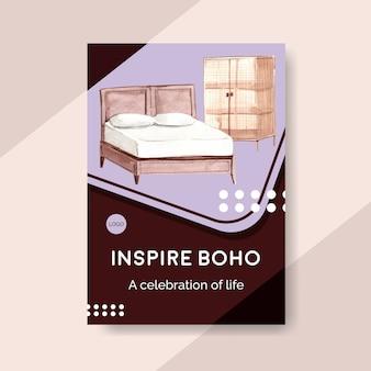 Szablon plakatu z projektem koncepcyjnym mebli boho dla broszury i marketingowej ilustracji akwarela