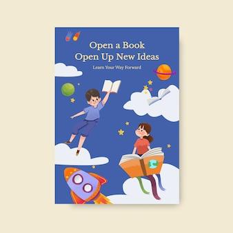 Szablon plakatu z projektem koncepcyjnym międzynarodowego dnia alfabetyzacji dla broszury i ulotki akwarela.