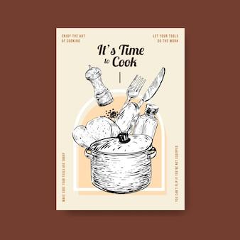 Szablon plakatu z projektem koncepcyjnym urządzeń kuchennych do reklamowania ilustracji wektorowych