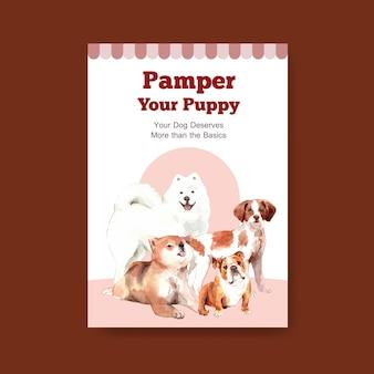 Szablon plakatu z psami