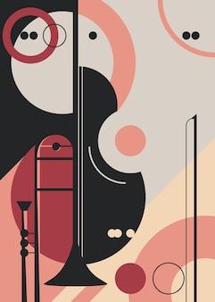Szablon plakatu z trąbką i skrzypcami. projekt ulotki na koncert muzyki klasycznej.