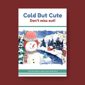 Szablon plakatu z zimową wyprzedażą do marketingu w stylu przypominającym akwarele