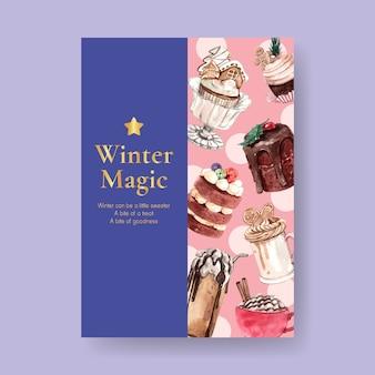 Szablon plakatu z zimowymi słodyczami w stylu przypominającym akwarele