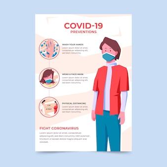 Szablon Plakatu Zapobiegającego Koronawirusowi Premium Wektorów