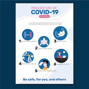 Szablon plakatu zapobiegania koronawirusowi dla hoteli