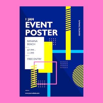 Szablon plakatu zdarzeń o geometrycznym kształcie