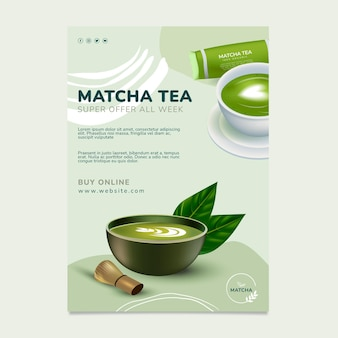 Szablon plakatu zdrowej herbaty matcha