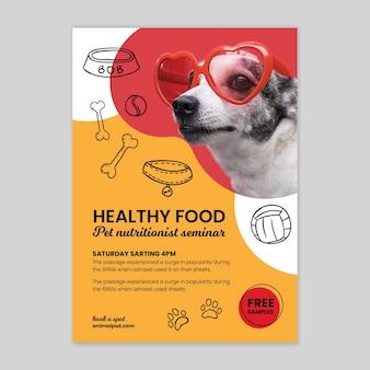 Szablon plakatu zdrowej żywności dla zwierząt