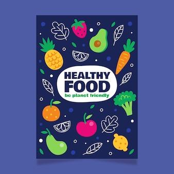 Szablon plakatu zdrowej żywności ekologicznej