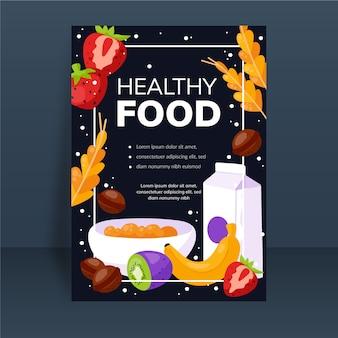 Szablon plakatu zdrowej żywności z ilustrowanymi pokarmami