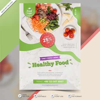 Szablon plakatu zdrowej żywności ze zdjęciem