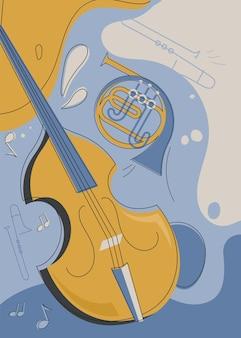 Szablon plakatu ze skrzypcami i waltornią. projekt ulotki na koncert muzyki klasycznej.