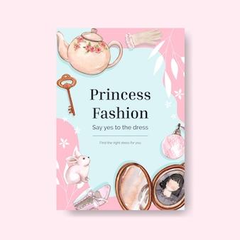 Szablon plakatu ze strojem księżniczki, w stylu akwareli