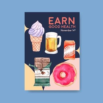 Szablon plakatu ze światowym dniem cukrzycy dla reklam i akwareli marketingowych