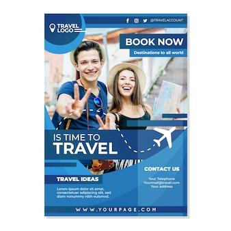 Szablon plakatu ze zdjęciem do podróży