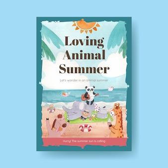 Szablon plakatu ze zwierzętami latem w stylu przypominającym akwarele