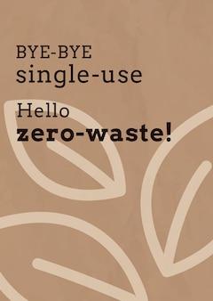 Szablon plakatu zero waste w odcieniu ziemi earth
